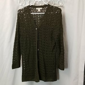 Coldwater Creek Womans Size Large Green Sweater